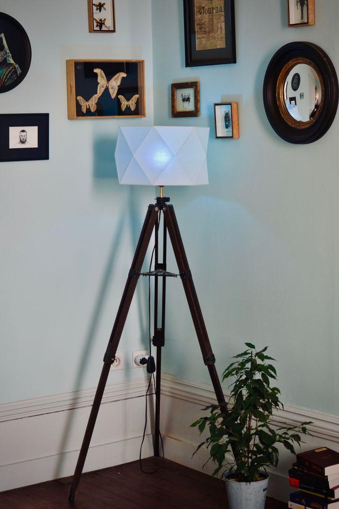 Dernier détail et non des moindres : grande lampe sur pied fabriqué à partir d'un ancien pied de télescope chiné en brocante. J'ai fixé un support électrique en pièces détachées sur le dessus puis j'ai rajouté un abat jour récupéré sur un  plafonnier. Le choix d'avoir opté pour une ampoule colorée était pour lui donner un petit côté à la fois cosy et moderne ^^