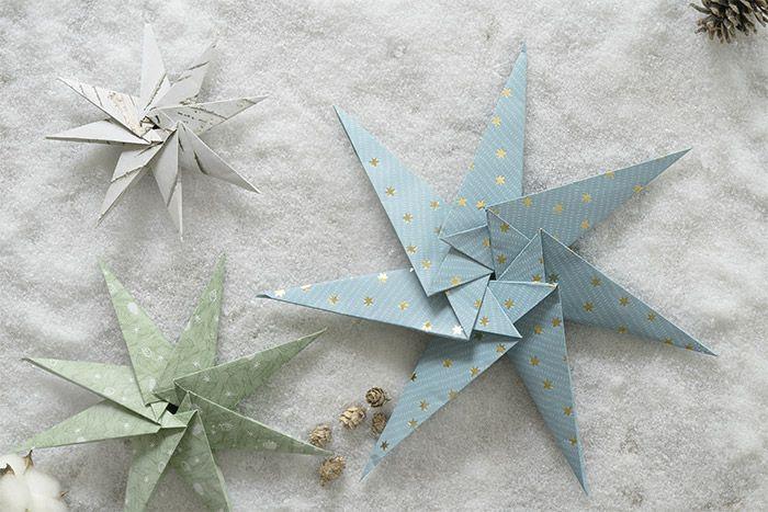 8. Avec différentes tailles de papiers, on obtient plusieurs tailles d'étoiles, idéales pour la décoration du sapin ou de la maison en attendant Noël.