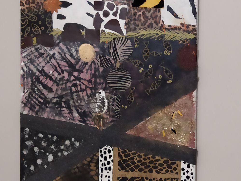 Détail du tableau, peinture, collage, poisson encré.