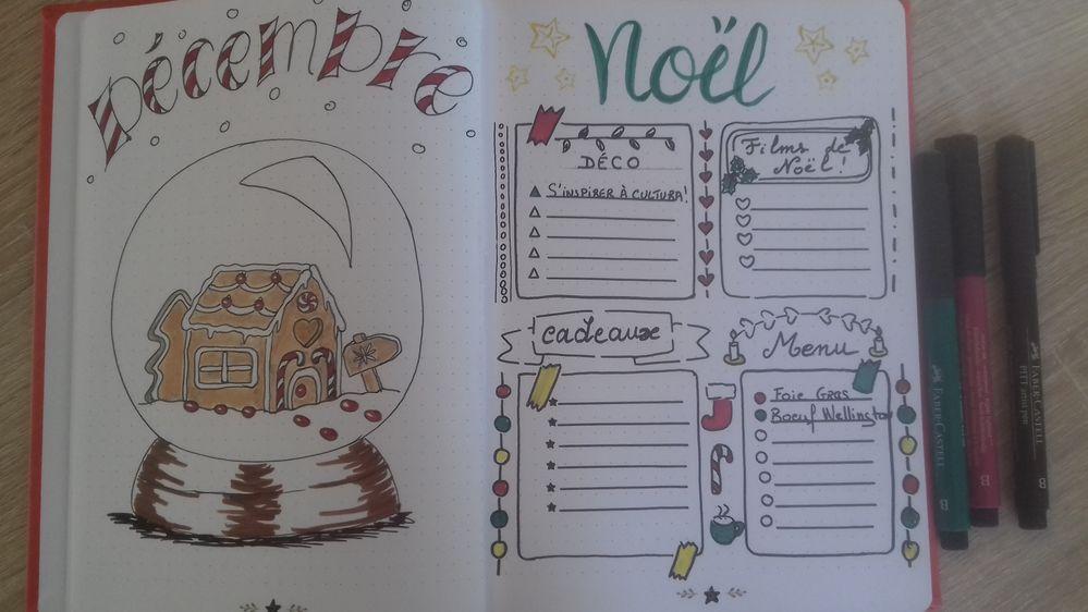 Ambiance pain d'épices et sucre d 'orge, pour cette page de bullet. Grâce aux feutres Pitt Faber-castell, et aux pochoirs d'écriture Toga, les fêtes seront bien organisées cette année !