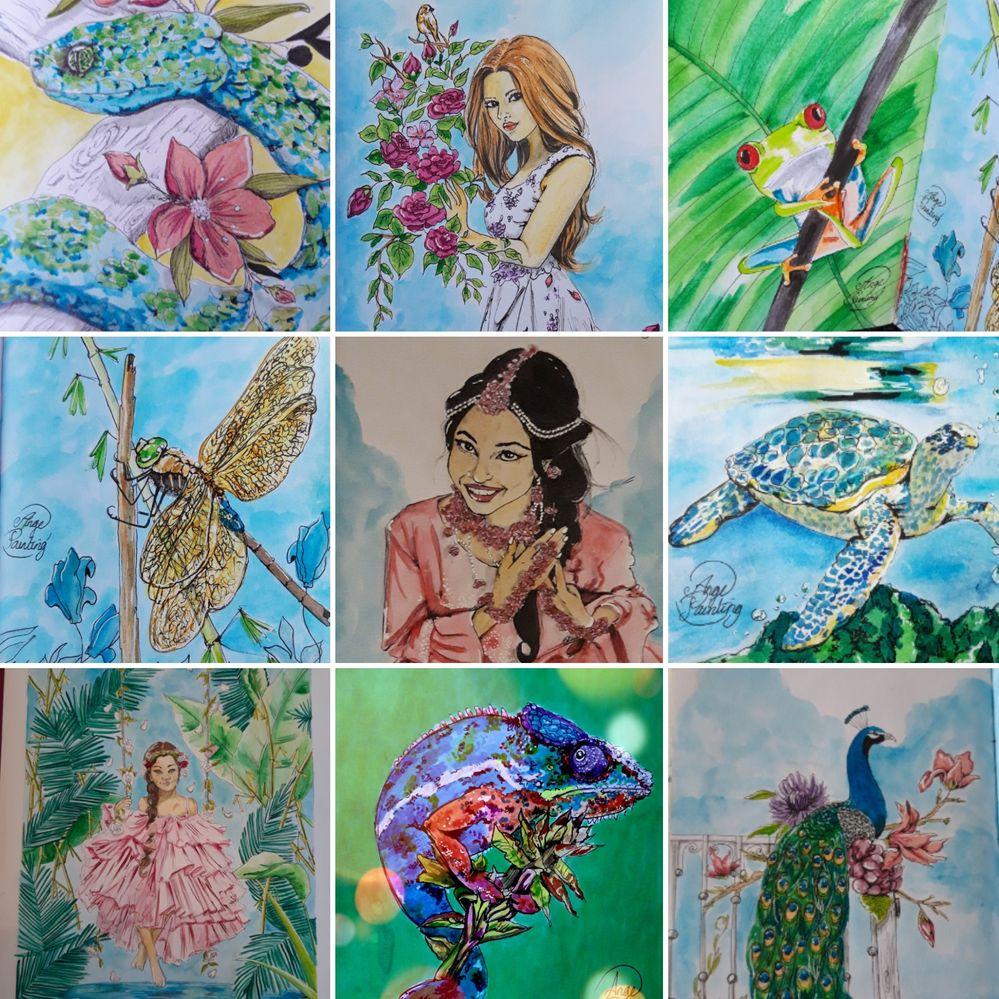 Illustrations aquarelle et crayon pritt #fabercastell #angepainting