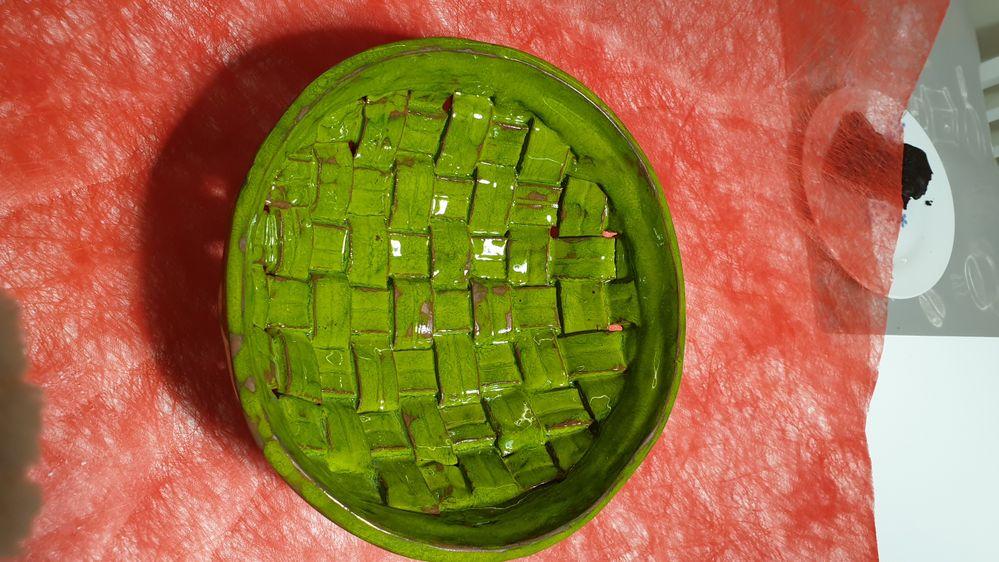 saladier vert cadmium pour belle maman (argile tressée)