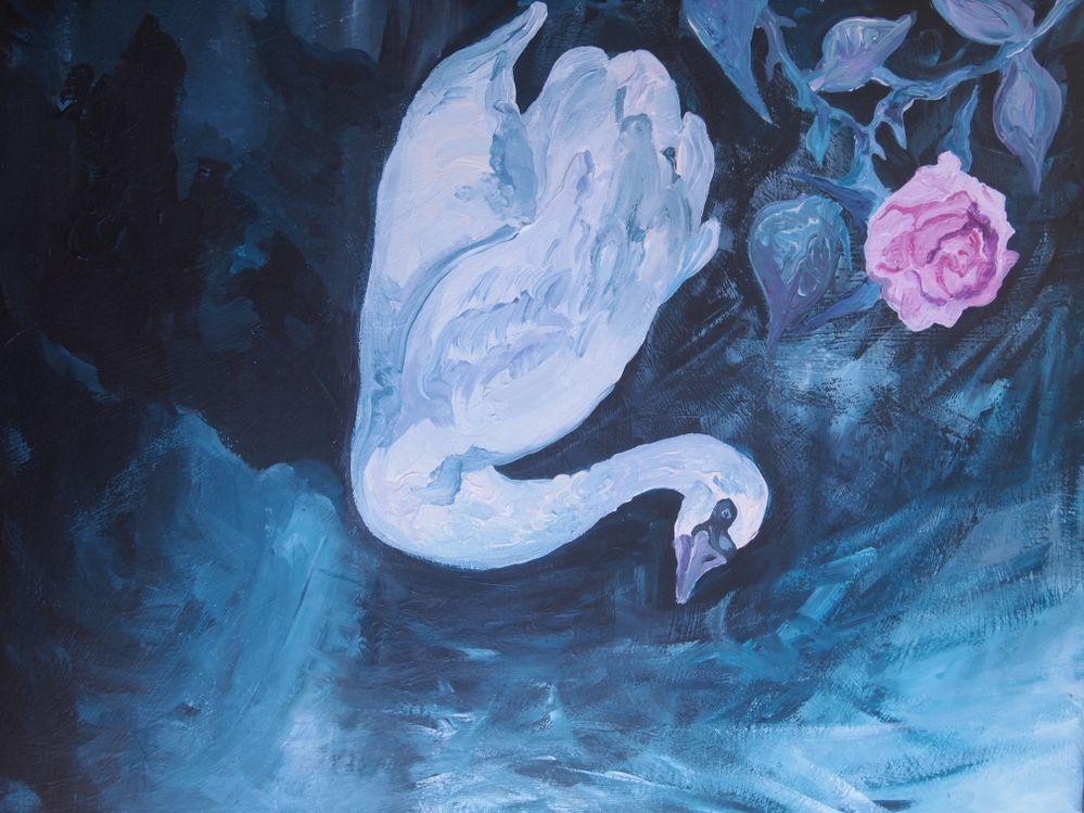 Cygne et Rose, acrylique sur toile