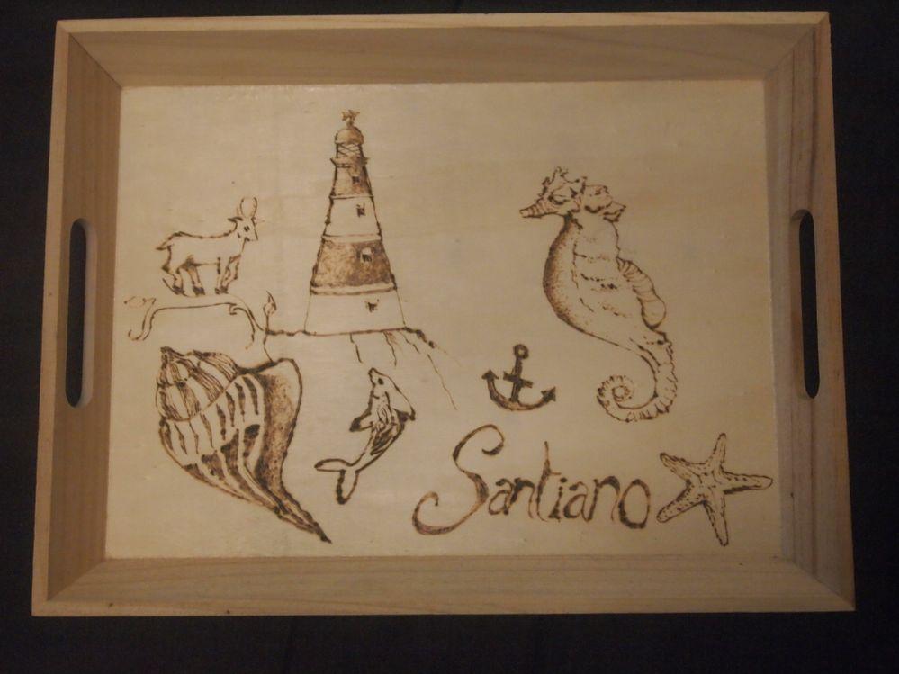Santiano, pyrogravure sur plateau en bois