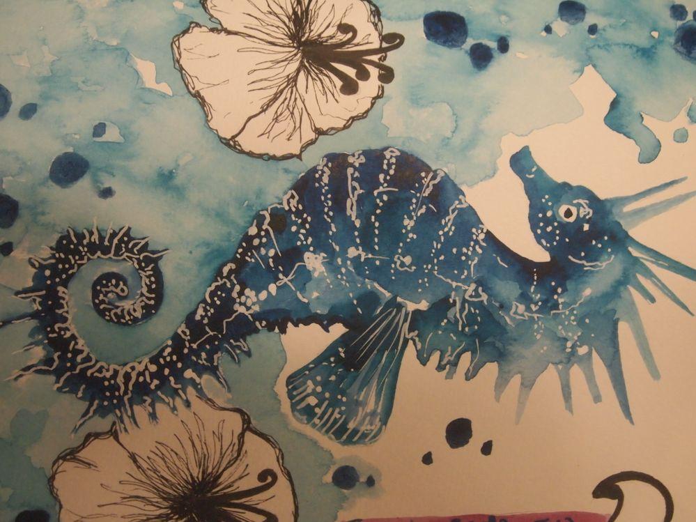Hippocampe, aquarelle et feutre posca sur papier