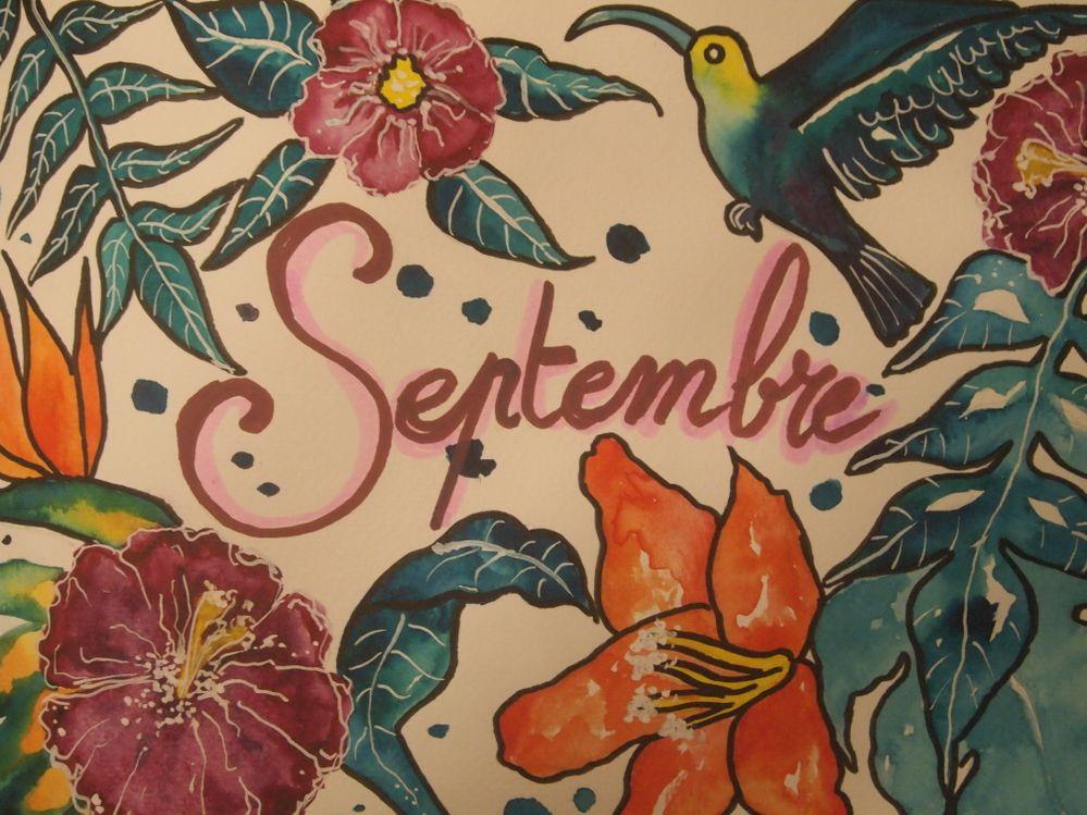 Septembre, page de Bullet Journal, aquarelle et feutres Posca sur papier
