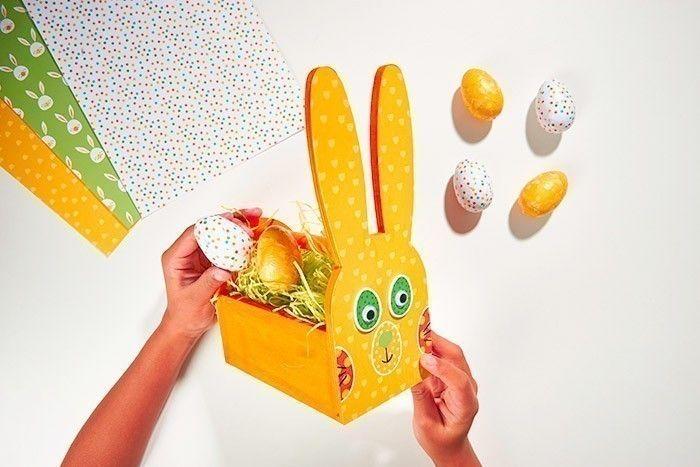 ETAPE 8/8 Garnir le panier de la paille et placer les œufs décorés.