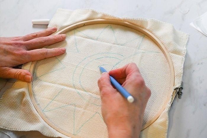 ETAPE 2/9 Télécharger le motif. Le reproduire sur l'envers au feutre textile.