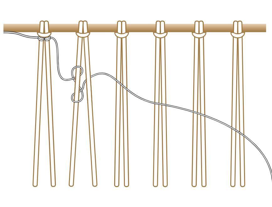 9. Répéter pour chaque descente de deux fils les mêmes actions pour créer un 1er rang. Veiller à ce que le fil soit bien tendu d'une descente à l'autre.