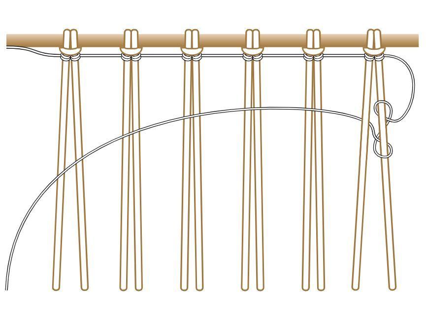 10. Créer de cette manière 3 rangs : de gauche à droite puis de droite à gauche puis de gauche à droite. Conseil : Pour tisser en sens inverse (de droite à gauche), inverser le sens du nouage.