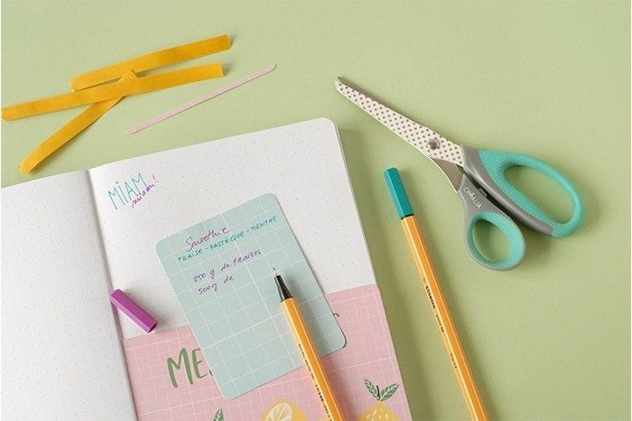 IDÉE N° 1 (suite): CRÉATION D'UNE POCHETTE Coller la carte au bas d'une page du carnet. Choisir une petite carte de la collection. Écrire une recette au feutre fin. Glisser la recette dans la pochette. Décorer la page en écrivant « Miam miam » dans deux couleurs et deux écritures différentes.