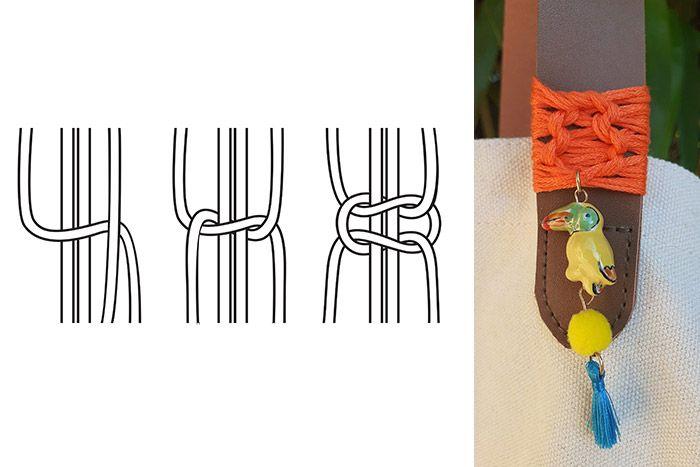 ETAPE 4/5 Décorer les anses du sac d'un tissage macramé (nœuds plats) réalisés avec un fil à broder orange et y suspendre une breloque aux couleurs estivales.