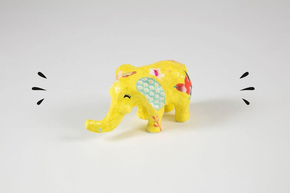7. Laisser sécher 10 minutes. L'éléphant est prêt à vivre de belles aventures !