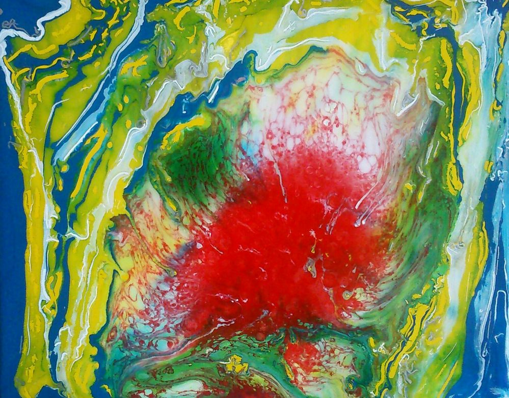 Corium. Résine avec pigments fluides, de chez pébéo, sur toile carton 24 x 30 cm.