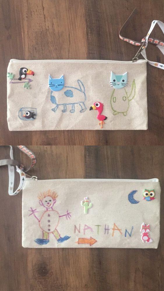 collage stickers et feutres sur tissu...