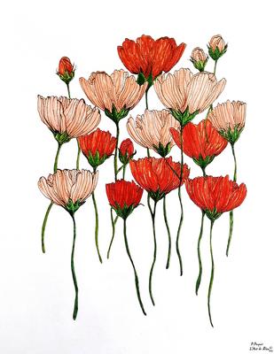 Fleurs en apesanteur - marqueurs alcool sur papier Monali Layout
