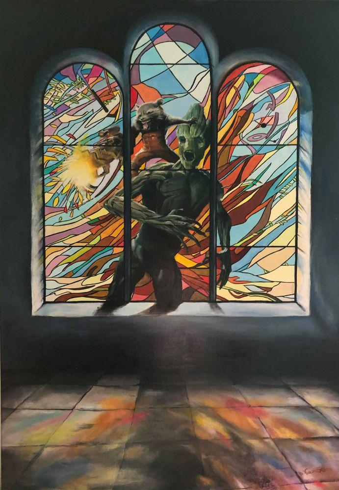 """""""Les gardiens du vitrail"""" (acrylique sur toile)"""