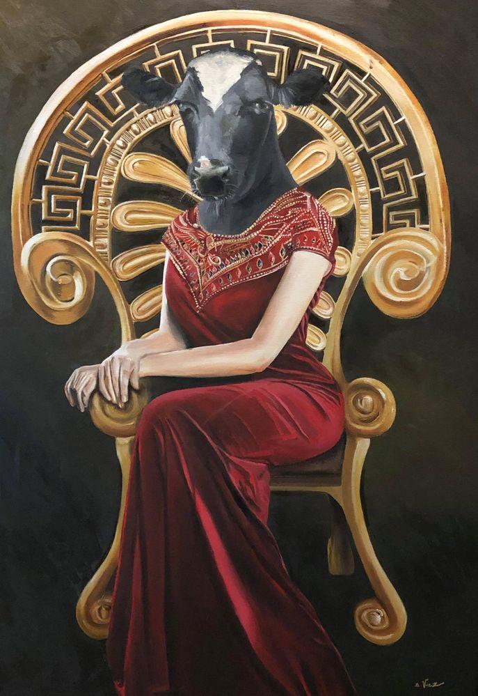 """""""Hathor sur son trône"""" (huile sur toile)"""