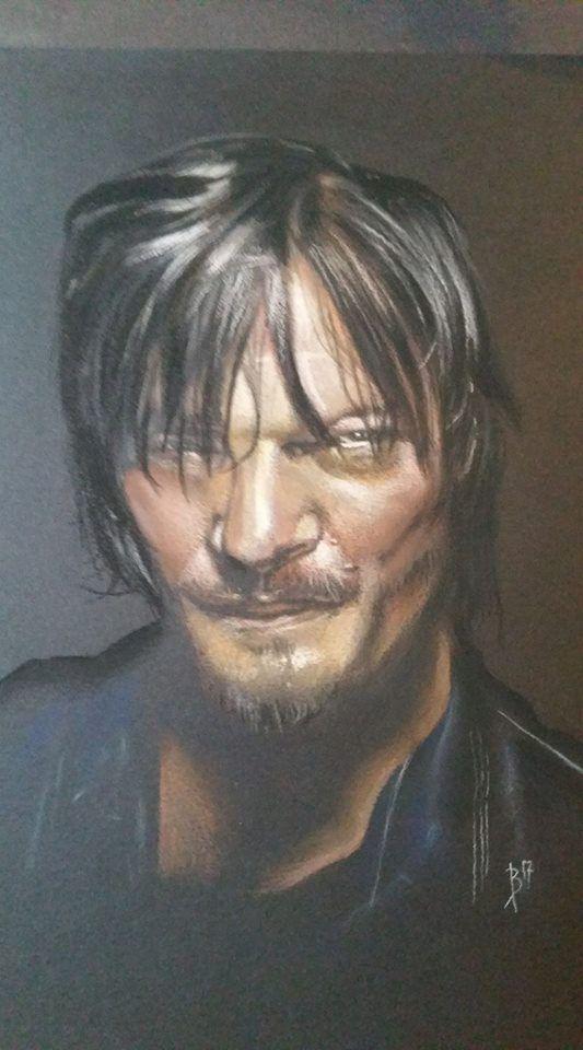 """""""Daryl"""" (pastel sur papier noir)"""