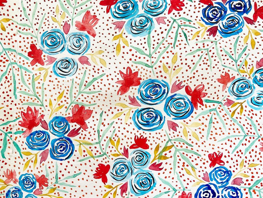 petites roses bleues à l'aquarelle
